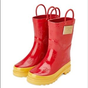 Winnie The Pooh Toddler Rubber Rain Boots Red NWT